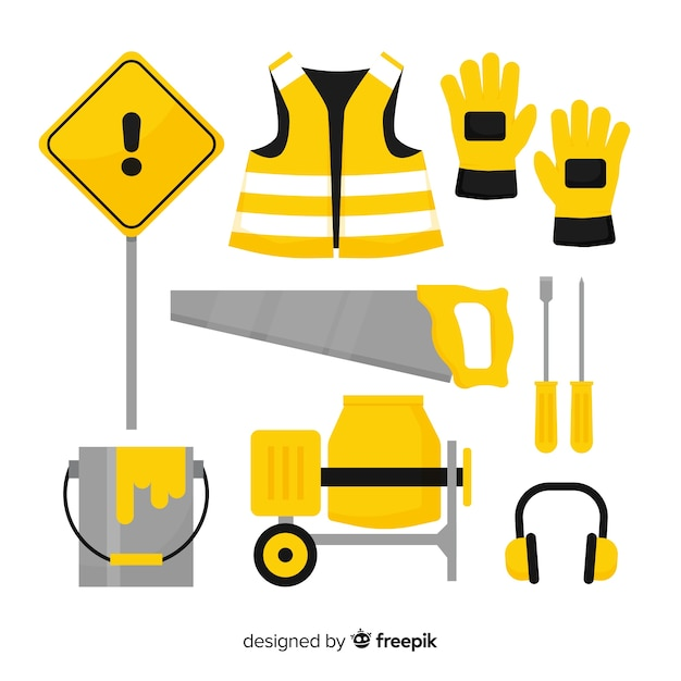 Collection of flat construction equipment Free Vector