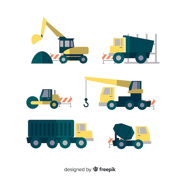 Collection of flat construction transport Free Vector