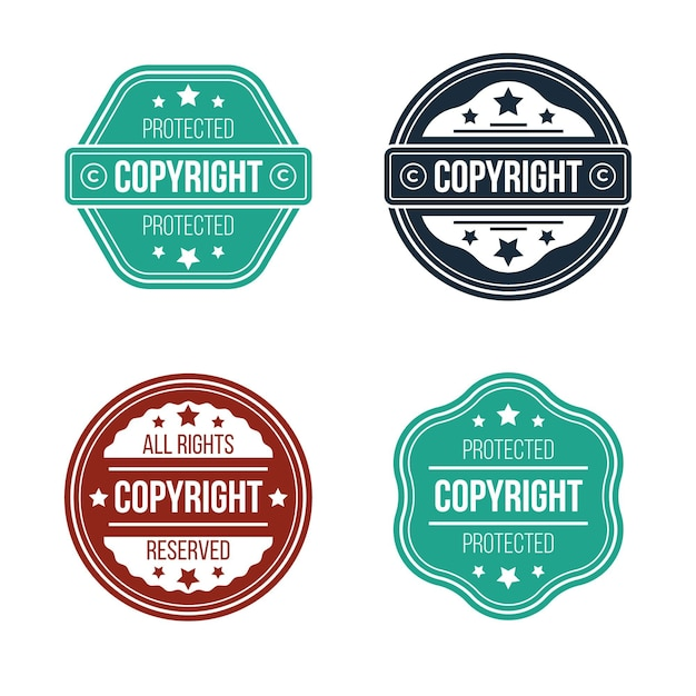 Collection of flat copyright stamps Premium Vector