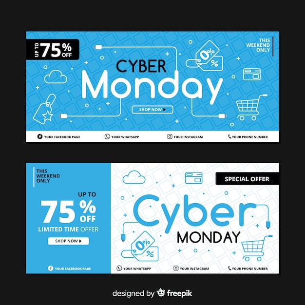 Collection of flat design cyber monday banners Free Vector