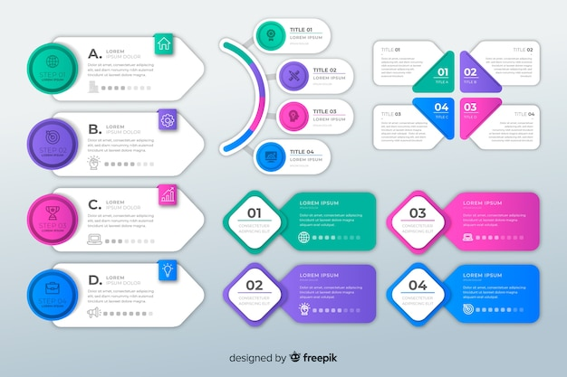 Collection of flat design infographic elements Free Vector