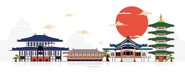 Free Vector Collection Of Flat Design Japanese Temples