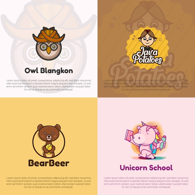 Collection flat design logo template; owl logo, java potatoes logo, bear and beer logo, and unicorn school logo. Premium Vector
