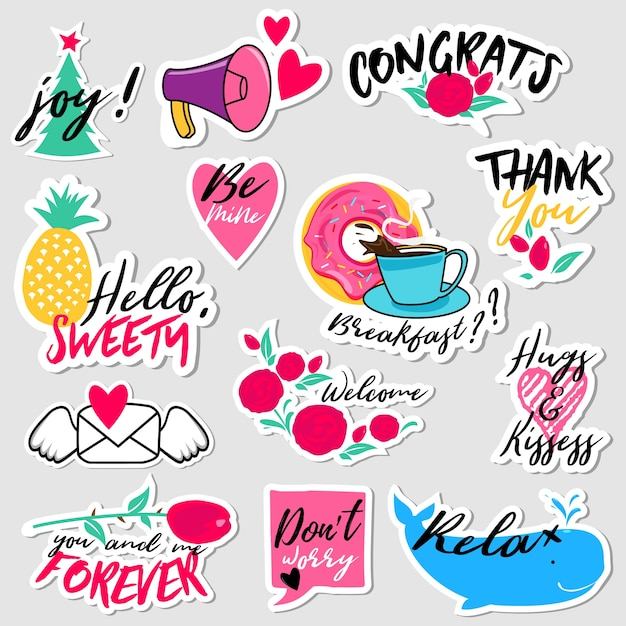 Collection of flat design social network stickers Premium Vector