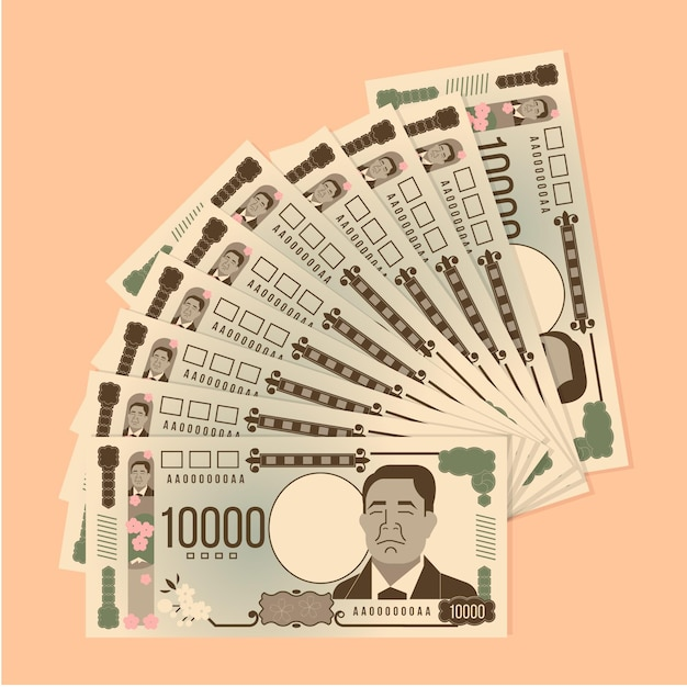 Collection of flat design yen banknotes Free Vector