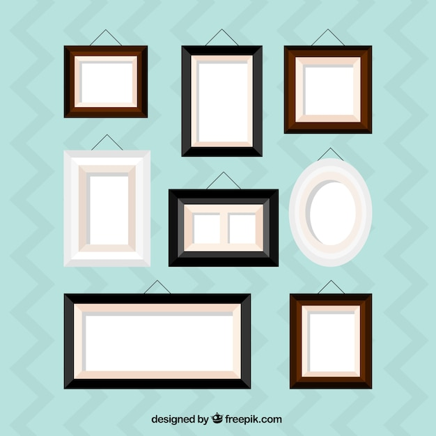 Collection of flat frame of home decoration Free Vector
