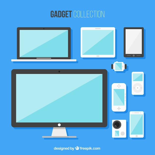 Collection of flat gadgets Free Vector