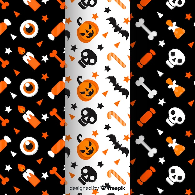 Collection of flat halloween pattern Free Vector