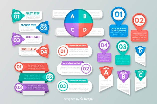 Collection of flat infographic elements Free Vector