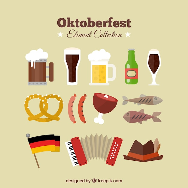 Collection of flat items oktoberfest Free Vector