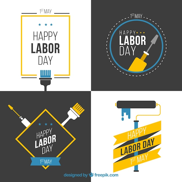 Collection of flat labor day badge Premium Vector