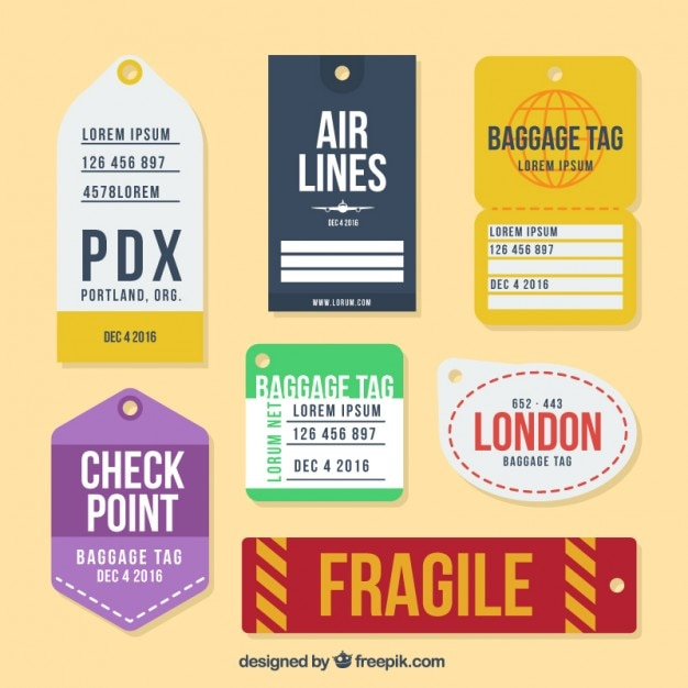 Collection of flat luggage tag in different designs Free Vector