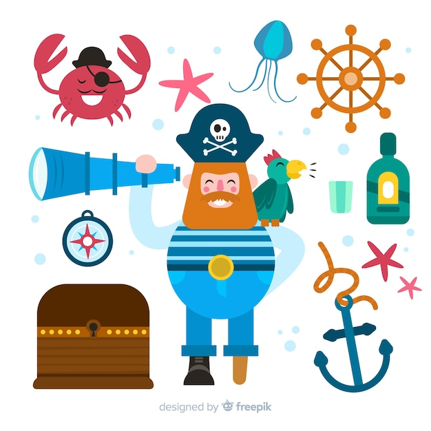 Collection of flat marine characters Free Vector