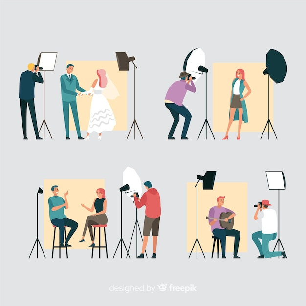 Collection of flat photographers working Free Vector