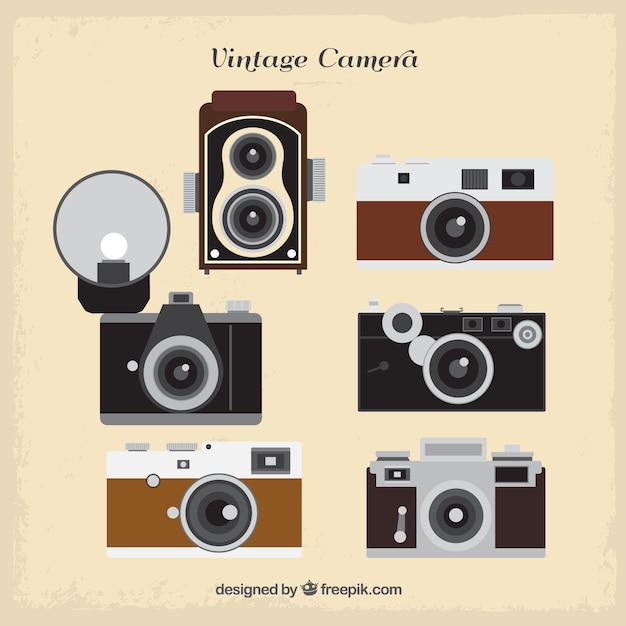 Collection of flat retro cameras Free Vector