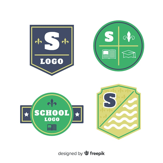 Collection of flat school logotypes Free Vector
