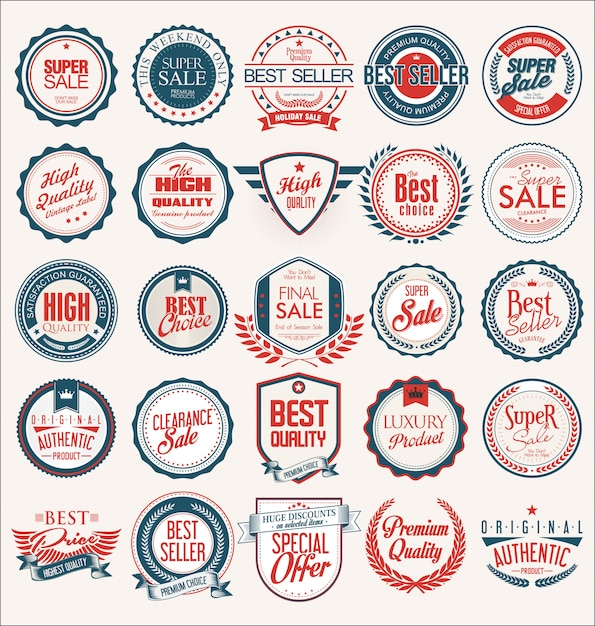 Collection of flat shields badges and labels retro style Premium Vector