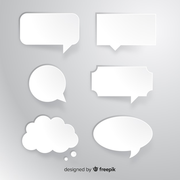 Collection of flat speech bubble in paper style Free Vector