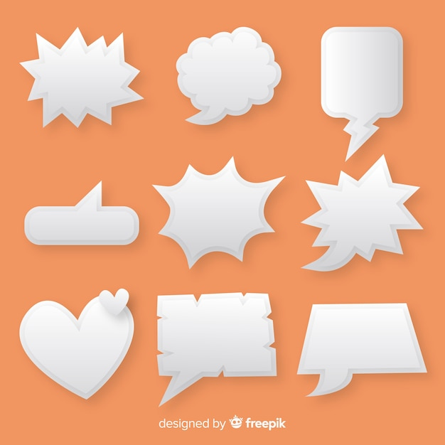 Collection of flat speech bubbles in paper style Free Vector