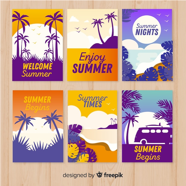 Collection of flat summer cards Free Vector