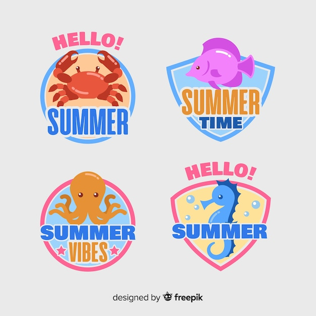 Collection of flat summer labels Free Vector