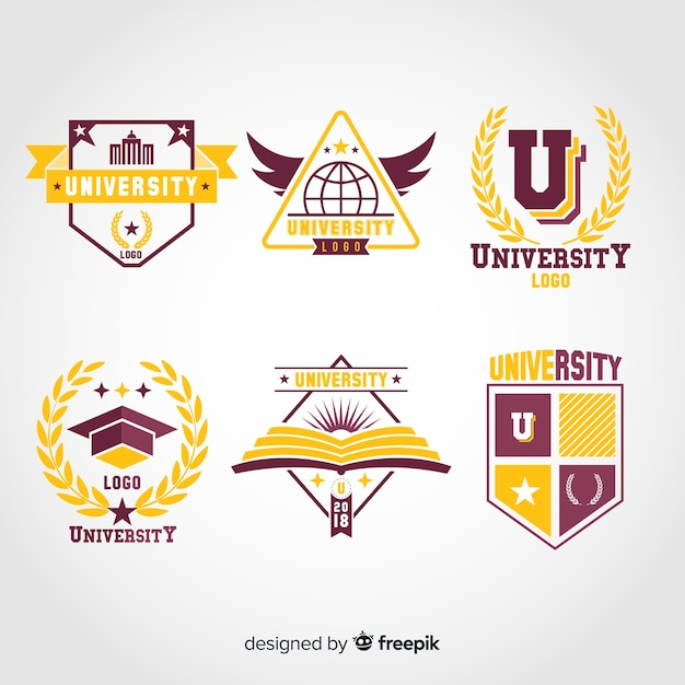 Collection of flat university logos Free Vector