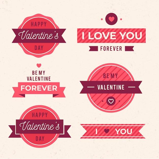 Raccolta di etichette piatte di san valentino Vettore gratuito
