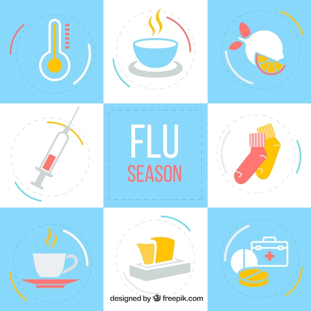 Collection of flu season accessories Free Vector