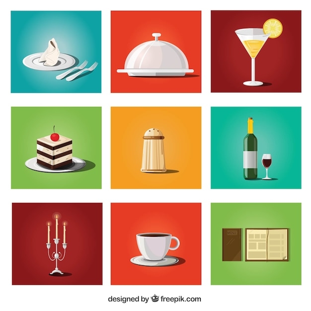 Collection of food and restaurant items Free Vector