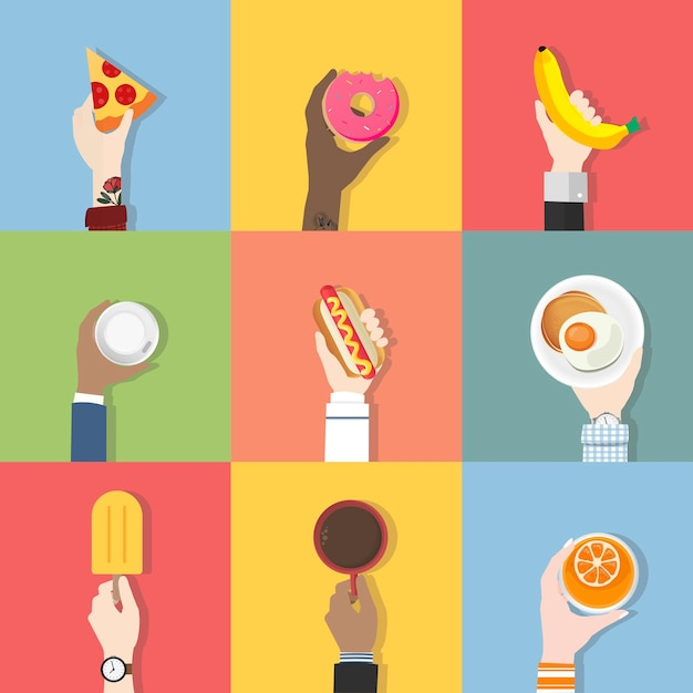 Collection of food vectors Free Vector