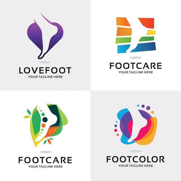 Collection of foot care logo set design template Premium Vector