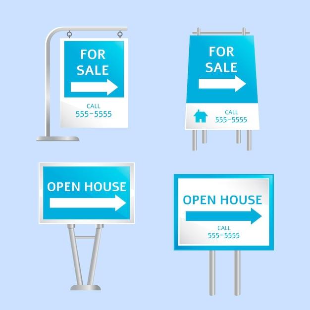 부동산 판매 표지판 컬렉션 무료 벡터