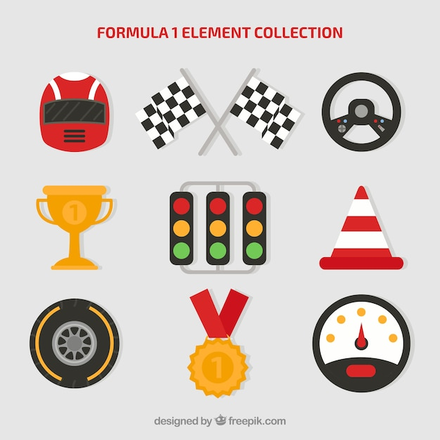 Collection of formula 1 elements in flat style Free Vector