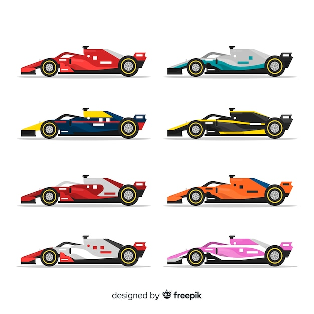 Collection of formula 1 racing cars Free Vector