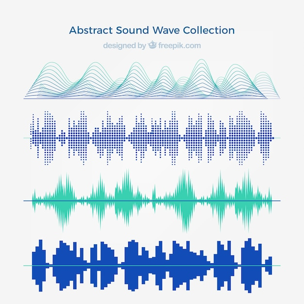 Collection of four abstract sound waves Premium Vector