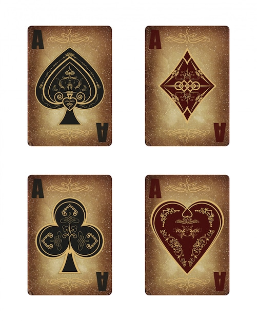 Collection of four aces in vintage style. Premium Vector