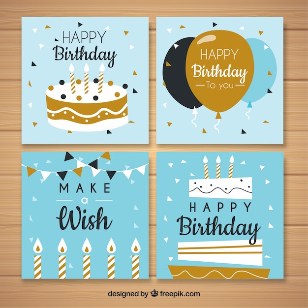 Collection of four birthday cards in flat design Free Vector