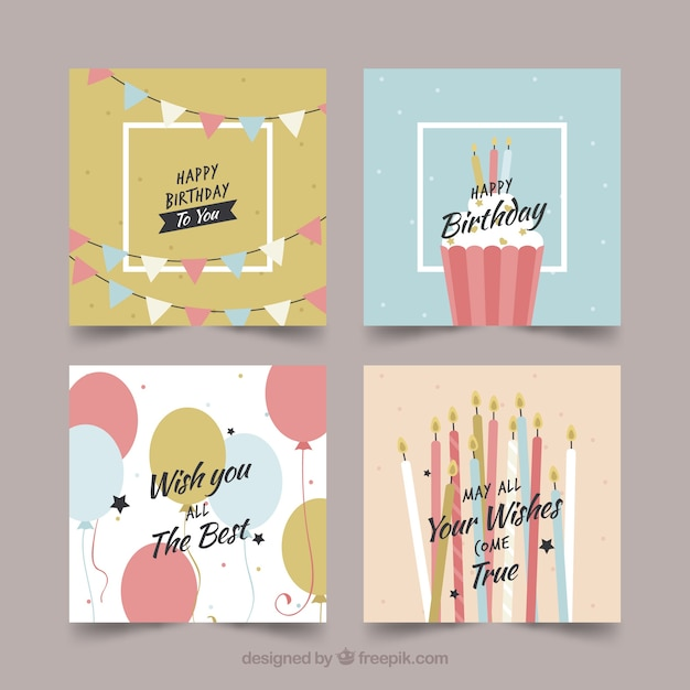 Collection of four colourful birthday cards Free Vector