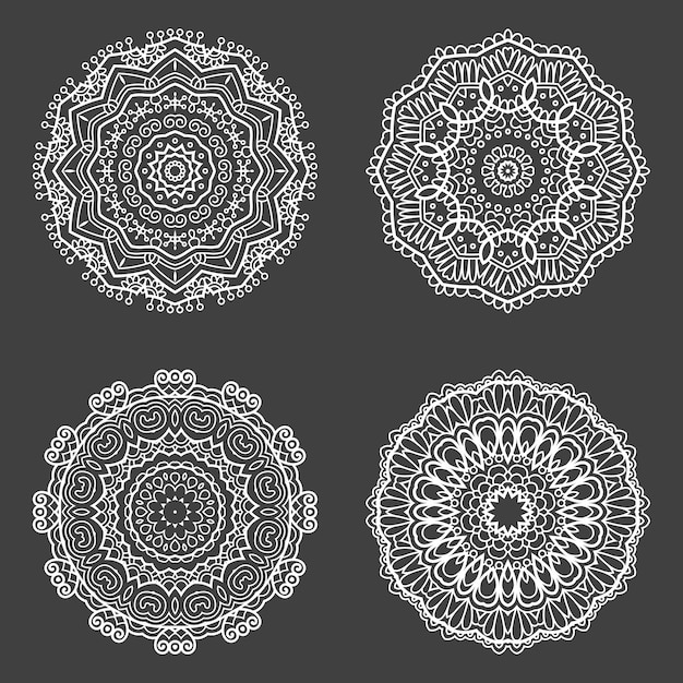 Collection of four decorative mandala design Free Vector