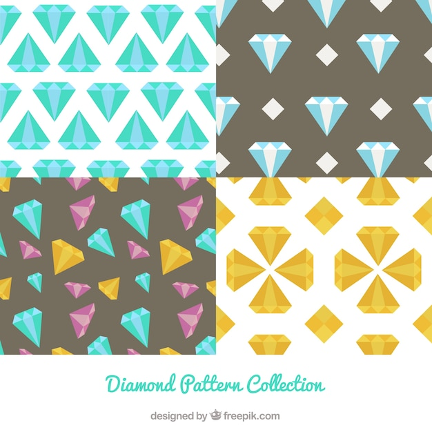 Collection of four diamond patterns in flat design Free Vector