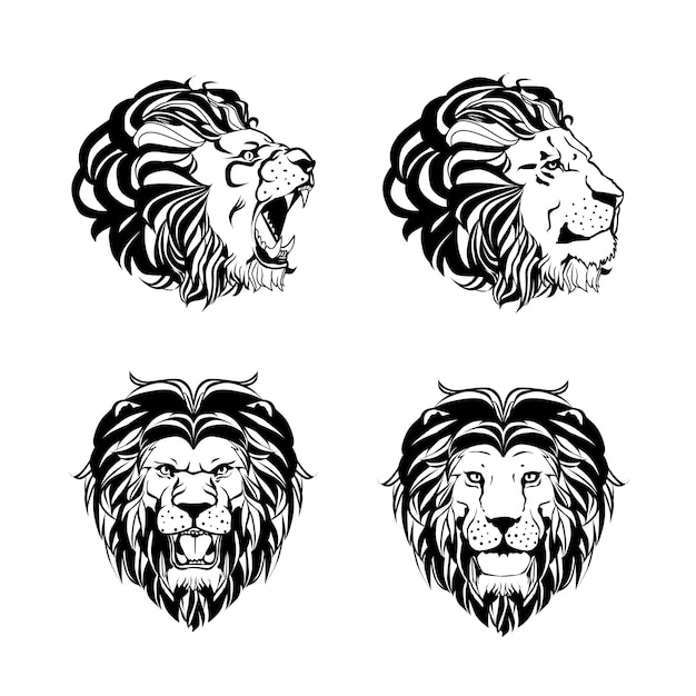 Collection of four engravings with lion head Free Vector