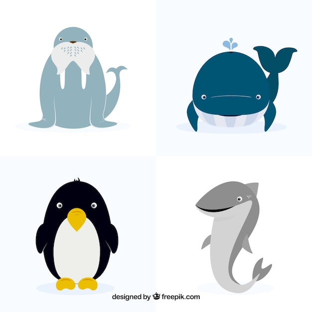 Collection of four flat animals Free Vector