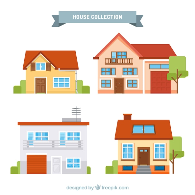Collection of four flat houses Free Vector