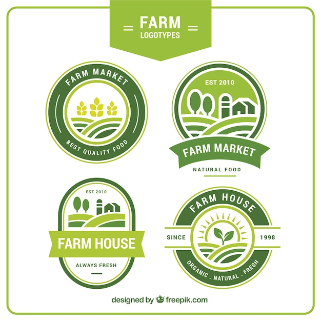 Collection of four green farm logos Free Vector