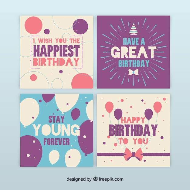 Collection of four hand drawn birthday cards Free Vector