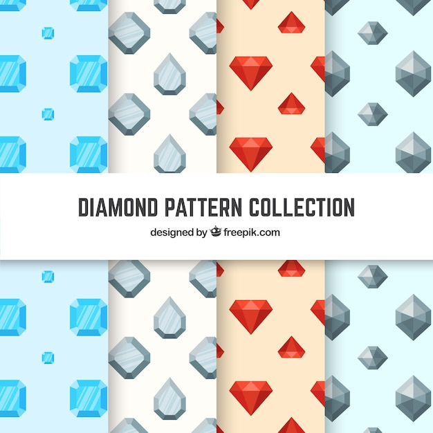 Collection of four patterns with flat diamonds Free Vector