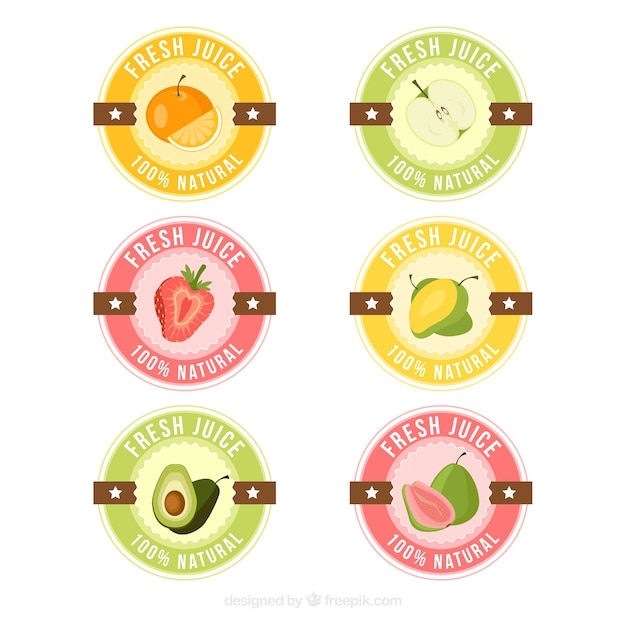 Collection Of Fresh Juice Stickers In Pastel Colors Vector