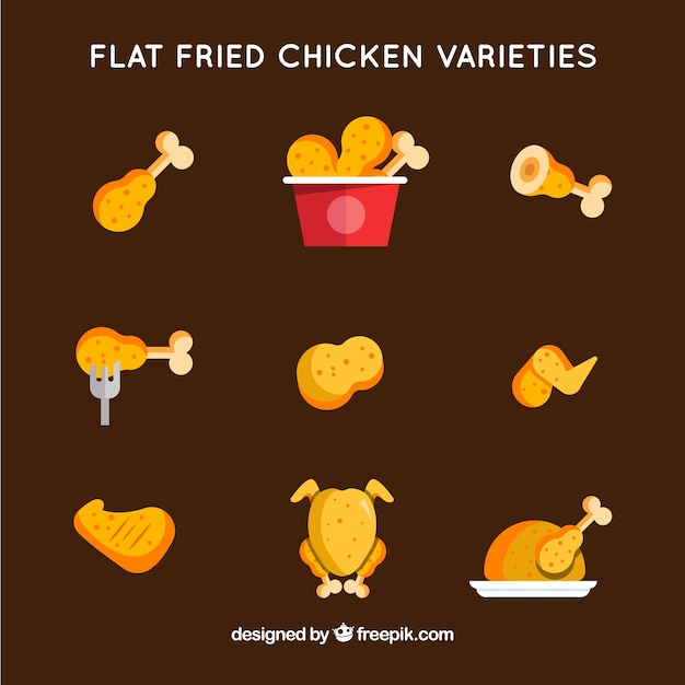 Collection of fried chicken in flat design Premium Vector