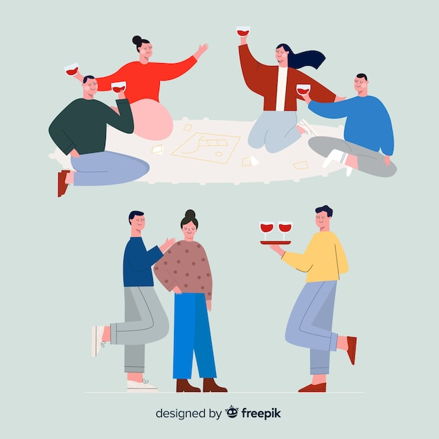Collection of friends spending time together Free Vector