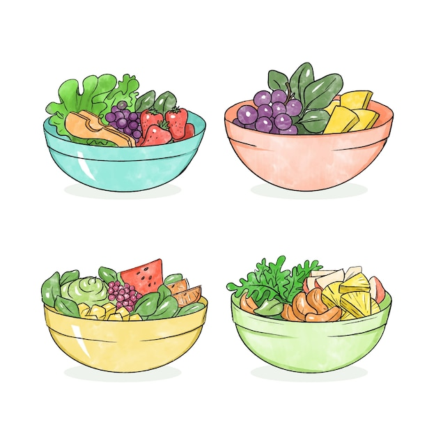 Collection of fruit and salad bowls Free Vector